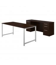 "BBF 400 Series 72"" W Table Desk Office Desk Set with Double Pedestal Credenza, Mocha Cherry"