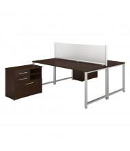 "Bush 72"" W x 30"" D 2-Person Office Desk Set with Piler Filer Cabinets (Shown in Mocha Cherry)"
