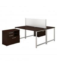 "Bush 60"" W x 30"" D 2-Person Office Desk Set with Pedestals (Shown in Mocha Cherry)"