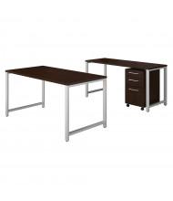 "Bush 60"" W x 30"" D Office Desk Set with Credenza & Pedestal (Shown in Mocha Cherry)"