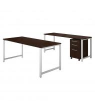 "Bush 72"" W x 30"" D Office Desk Set with Credenza & Pedestal (Shown in Mocha Cherry)"