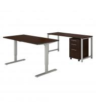 "Bush 60"" W Height Adjustable Desk Office Desk Set with Credenza & Mobile Pedestal (Shown in Mocha Cherry)"