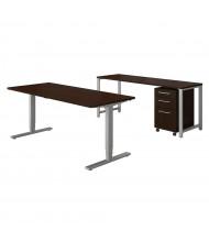 "Bush 72"" W Height Adjustable Desk Office Desk Set with Credenza & Mobile Pedestal (Shown in Mocha Cherry)"