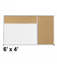 Best-Rite Style-D 6 x 4 Tackboard and Porcelain Magnetic Combination Whiteboard (Shown in Natural Cork)