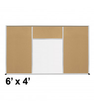 Best-Rite Style-H 6 x 4 Tackboard and Porcelain Magnetic Combination Whiteboard (Shown in Natural Cork)
