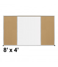 Best-Rite Style-F 8 x 4 Tackboard and Porcelain Magnetic Combination Whiteboard (Shown in Natural Cork)