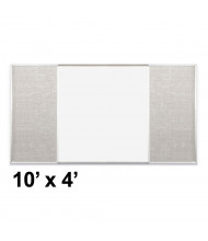 Best-Rite Style-F 10 x 4 Combo-Rite Tackboard and Porcelain Magnetic Combination Whiteboard (Shown in Sterling)
