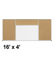 Best-Rite Style-H 16 x 4 Tackboard and Porcelain Magnetic Combination Whiteboard (Shown in Natural Cork)
