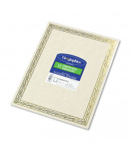 """Geographics 8-1/2"""" x 11"""", 24lb, 12-Sheets, Gold Serpentine Border Foil Stamped Award Certificates"""