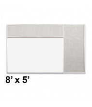 Best-Rite Style-D 8 x 5 Combo-Rite Tackboard and Porcelain Magnetic Combination Whiteboard (Shown in Sterling)
