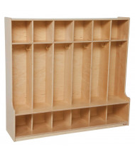 """Wood Designs 6-Section Classroom Coat Locker with Seat, Birch, 49"""" H x 54"""" W x 15"""" D"""