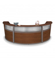 "OFM Marque 55313 143"" W U-Shaped Plexi Panel Curved Reception Desk (Shown in Cherry)"