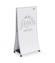 Mooreco Essentials Ogee 3' x 6' Mobile Porcelain Steel Curved Easel