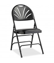 Samsonite 3000 Series Fanback Leather Folding Chair, Pack of 4 (Shown in Black)