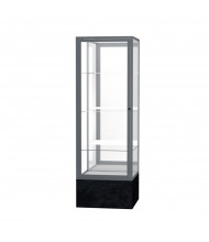 """Waddell Monarch 575 Series Lighted Floor Display Case 24""""W x 72""""H x 24""""D (mirror back/satin/black marble)"""