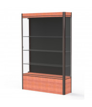 """Waddell Contempo Lighted Floor Display Case 48"""" W x 72"""" H x 14"""" D (Shown with Black Back and Cherry Base, Dark Bronze Frame)"""