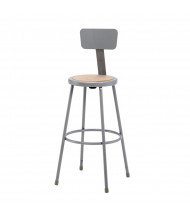 "NPS 30"" H Round Science Lab Stool, Backrest, 6230B"