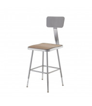 "NPS 19"" - 27"" Height Adjustable Square Science Lab Stool, Backrest"