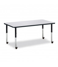 """Jonti-Craft Berries 60"""" x 30"""" Mobile Rectangle Classroom Activity Table (Shown in Grey / Black)"""