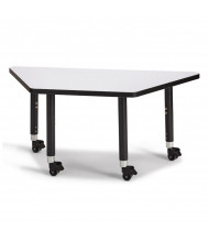 """Jonti-Craft Berries 60"""" W x 30"""" D Trapezoid-Shaped Mobile Classroom Activity Table (Shown in Grey/Black)"""