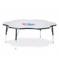 """Jonti-Craft Berries 60"""" D Six-Leaf-Shaped Elementary Classroom Activity Table (Shown in Grey/Black)"""