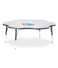 "Jonti-Craft Berries 60"" D Six-Leaf-Shaped Classroom Activity Table (Shown in Grey/Black)"