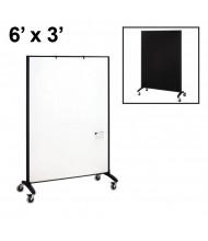 Quartet Motion Porcelain/Fabric 6 x 3 Reversible Mobile Divider (Both Sides Shown)