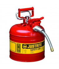 """Justrite Type II AccuFlow 2 Gallon 5/8"""" Hose Steel Safety Can (Shown in Red)"""