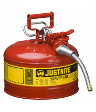 """Justrite Type II AccuFlow 2.5 Gallon 5/8"""" Hose Steel Safety Can (Shown in Red)"""