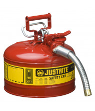 """Justrite Type II AccuFlow 2.5 Gallon 1"""" Hose Steel Safety Can (Shown in Red)"""