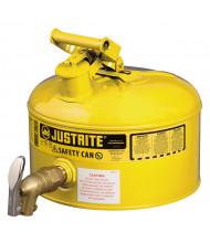 Justrite 7225250 Type I 2.5 Gallon Shelf Dispensing Safety Can, Yellow