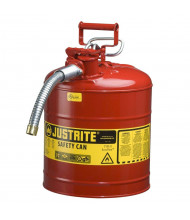 """Justrite Type II AccuFlow 5 Gallon 5/8"""" Hose Steel Safety Can (Shown in Red)"""