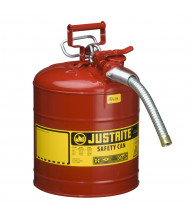 """Justrite Type II AccuFlow 5 Gallon 1"""" Hose Steel Safety Can (Shown in Red)"""