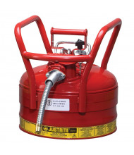 """Justrite 7325120 Type II AccuFlow DOT 2.5 Gallon Steel Safety Can, 5/8"""" Hose, Red"""