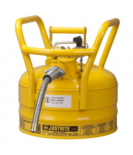 """Type II AccuFlow DOT 2.5 Gallon Steel Safety Can, 5/8"""" Hose, Yellow"""