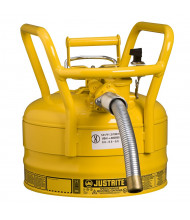 """Type II AccuFlow DOT 2.5 Gallon Steel Safety Can, 1"""" Hose, Yellow"""