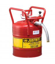 """Justrite 7350130 Type II AccuFlow DOT 5 Gallon Steel Safety Can, 1"""" Hose, Red"""