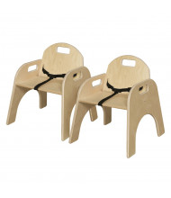 """Wood Designs Woodie 11"""" H Classroom Chair with Belt Strap, 2-Pack"""