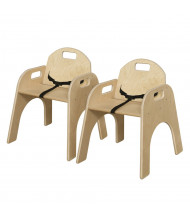 """Wood Designs Woodie 13"""" H Classroom Chair with Belt Strap, 2-Pack"""