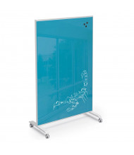 Mooreco Essentials Hierarchy 3' x 4' Grow & Roll Magnetic Glass Reversible Mobile Whiteboard (Shown in Blue)