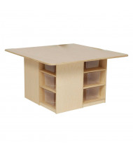 Wood Designs Childrens Classroom 12-Cubby Table and Storage Unit with Clear Trays