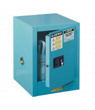 Just-Rite Sure-Grip EX 890422 Countertop Self Close One Door Corrosives Acids Steel Safety Cabinet, 4 Gallons, Blue (manual closing door shown)