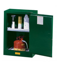 Just-Rite Sure-Grip EX 891224 Compac Self Close One Door Pesticides Safety Cabinet, 12 Gallons, Green (manual closing shown)