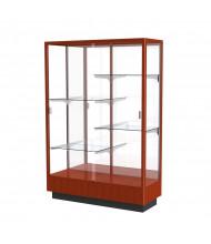 "Waddell Heritage 891K Series Sliding Glass Door Floor Display Case 48""W x 70""H x 18""D (Shown as Cherry Oak / Mirror)"
