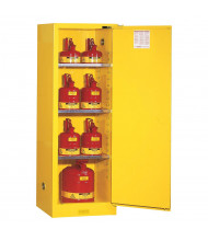 Justrite Sure-Grip EX Slimline 22 Gal Self-Closing Flammable Storage Cabinet (Shown in Yellow, Padlock Not Included)