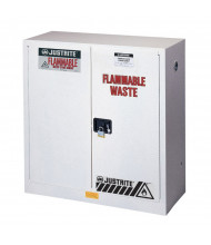 Just-Rite 8930253 Flammable Waste Self Close Two Door Safety Cabinet, 30 Gallons, White (manual close shown)