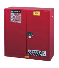 Justrite Sure-Grip EX 40 Gal Self-Closing Combustibles Storage Cabinet (Shown in Red, Padlock Not Included)