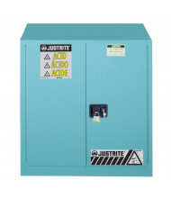 Just-Rite Sure-Grip EX 893082 One Bi-Fold Self Close Door Corrosives Acids Steel Safety Cabinet, 30 Gallons, Blue