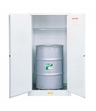 Just-Rite 8962253 Flammable Waste Vertical Self Close Two Door Drum Safety Cabinet, 55 Gallon Drum, White (manual close shown)