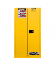 Justrite Sure-Grip EX 55 Gal Self-Closing Fire Resistant Drum Storage Cabinet with Drum Support (Shown in Yellow)
